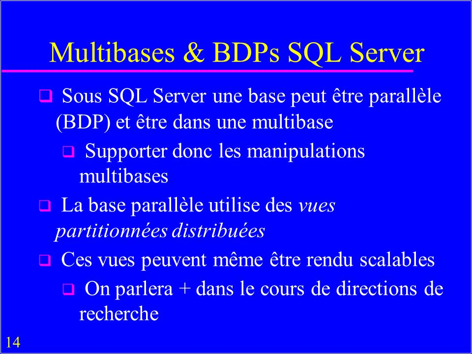Multibases & BDPs SQL Server