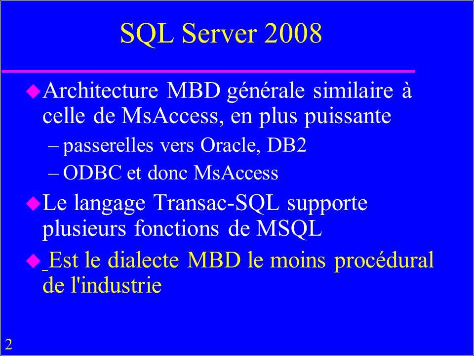 SQL Server 2008 Architecture MBD générale similaire à celle de MsAccess, en plus puissante. passerelles vers Oracle, DB2.