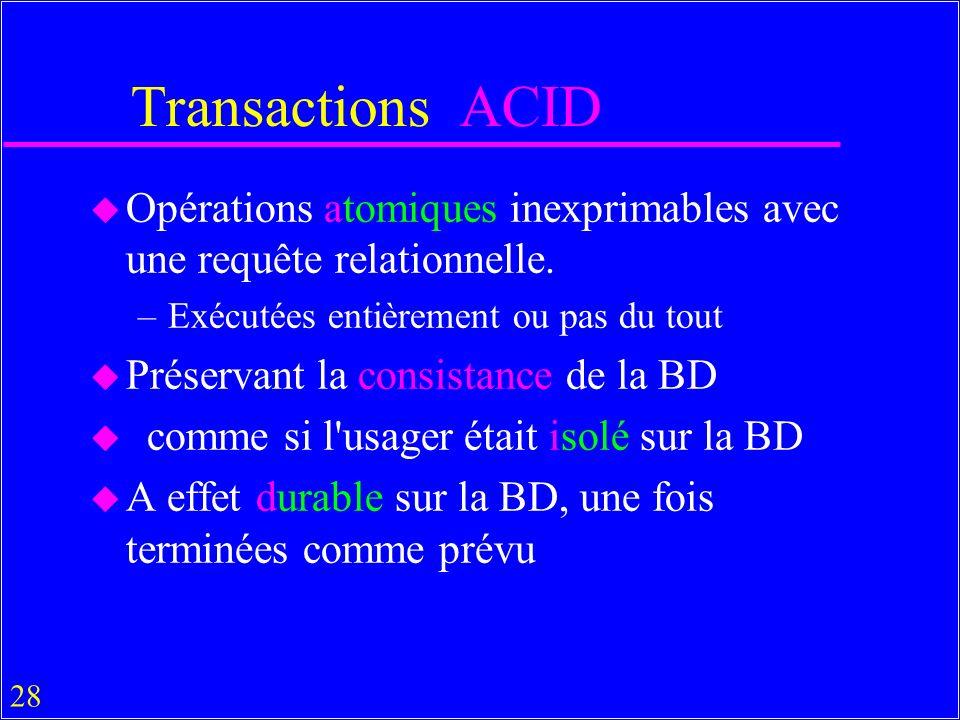 Transactions ACID Opérations atomiques inexprimables avec une requête relationnelle. Exécutées entièrement ou pas du tout.