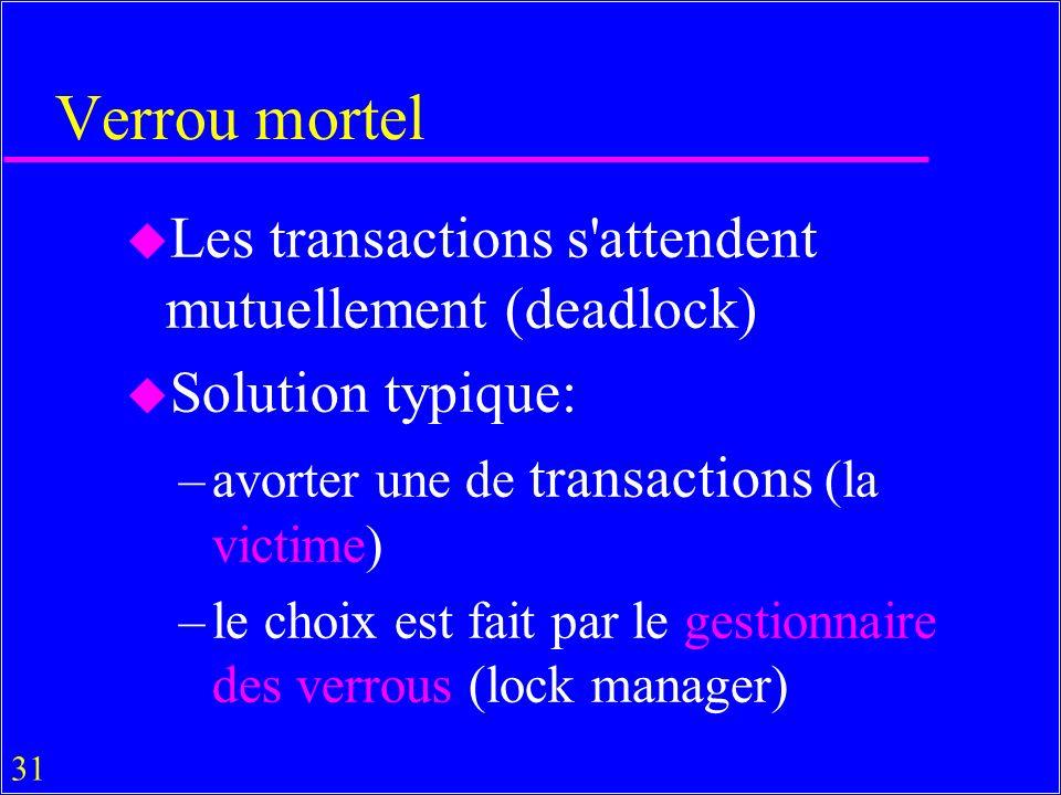 Verrou mortel Les transactions s attendent mutuellement (deadlock)