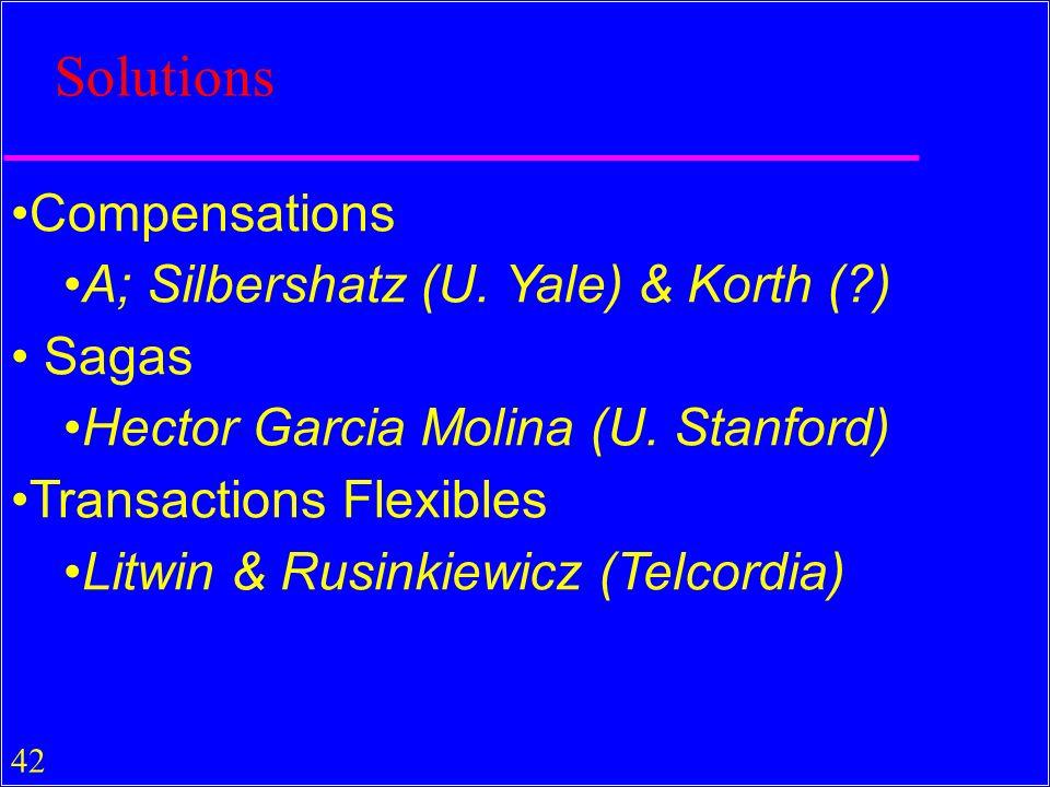 Solutions Compensations A; Silbershatz (U. Yale) & Korth ( ) Sagas