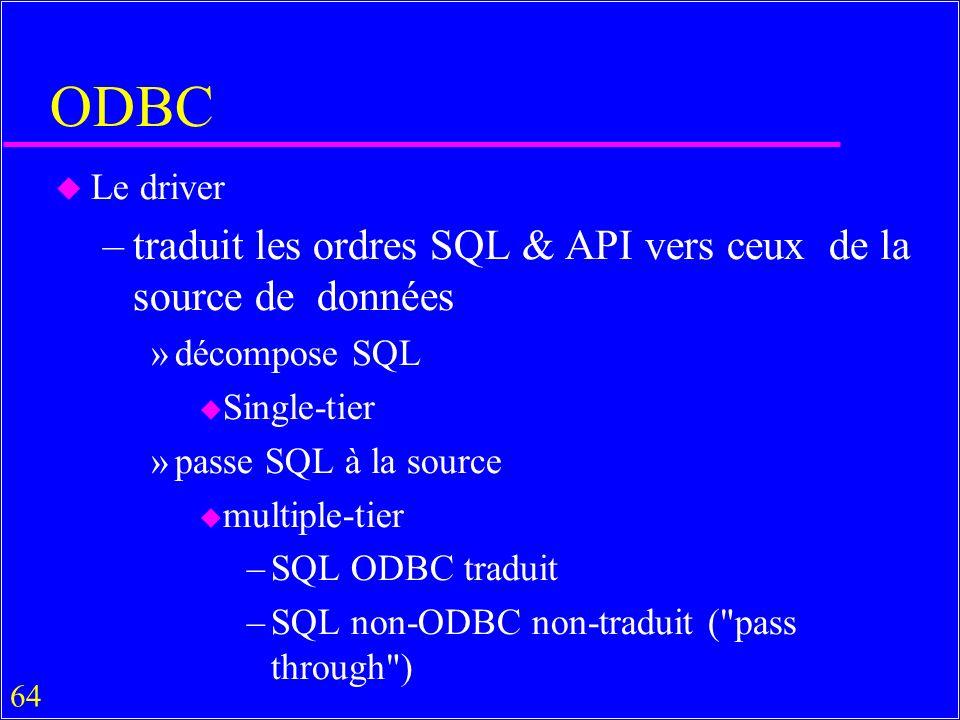 ODBC traduit les ordres SQL & API vers ceux de la source de données