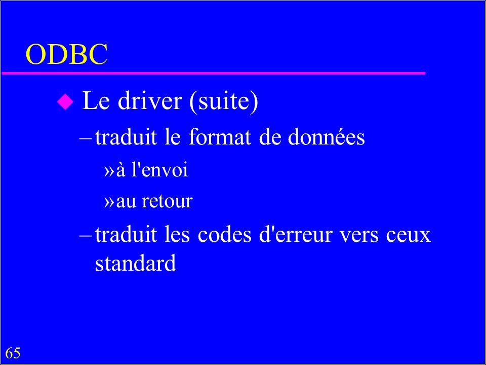 ODBC Le driver (suite) traduit le format de données