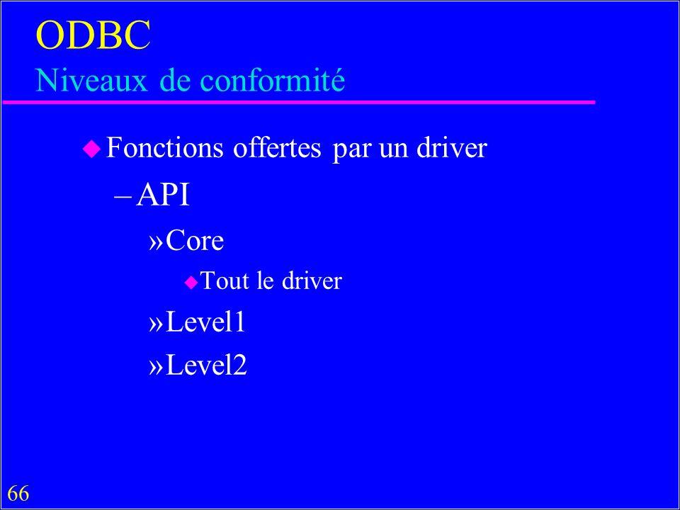 ODBC Niveaux de conformité