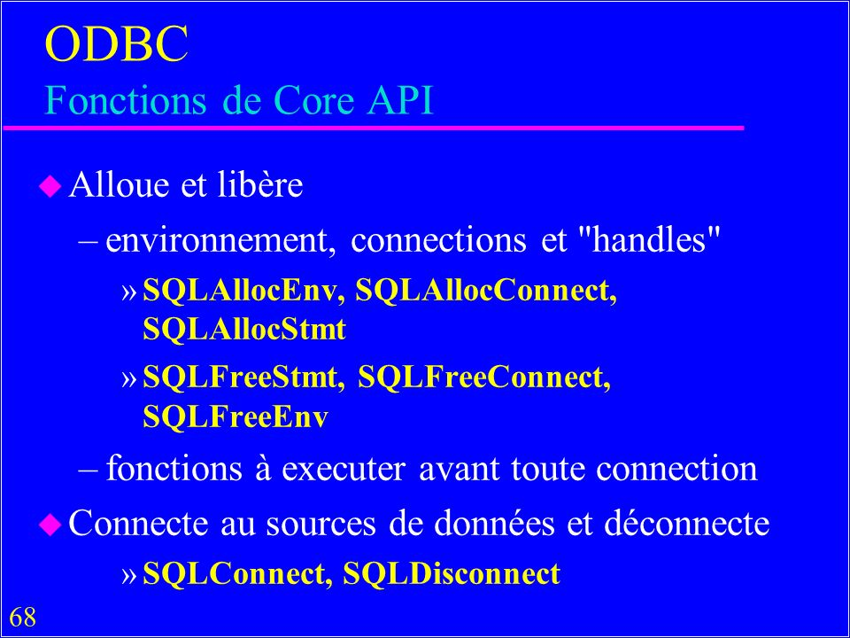 ODBC Fonctions de Core API