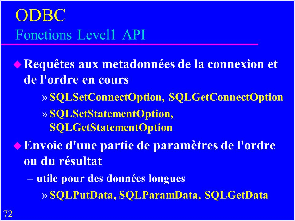 ODBC Fonctions Level1 API