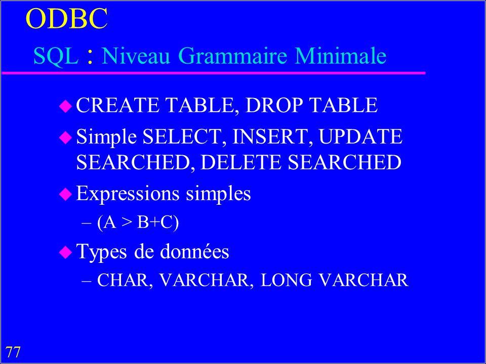 ODBC SQL : Niveau Grammaire Minimale