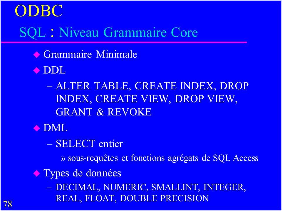 ODBC SQL : Niveau Grammaire Core