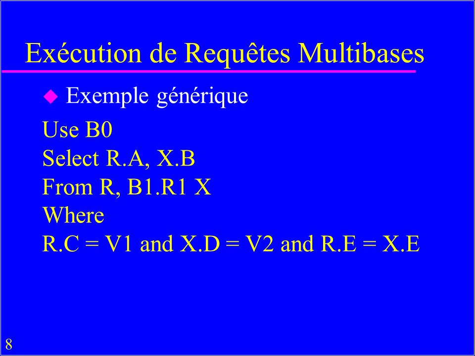 Exécution de Requêtes Multibases