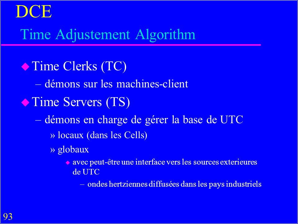 DCE Time Adjustement Algorithm