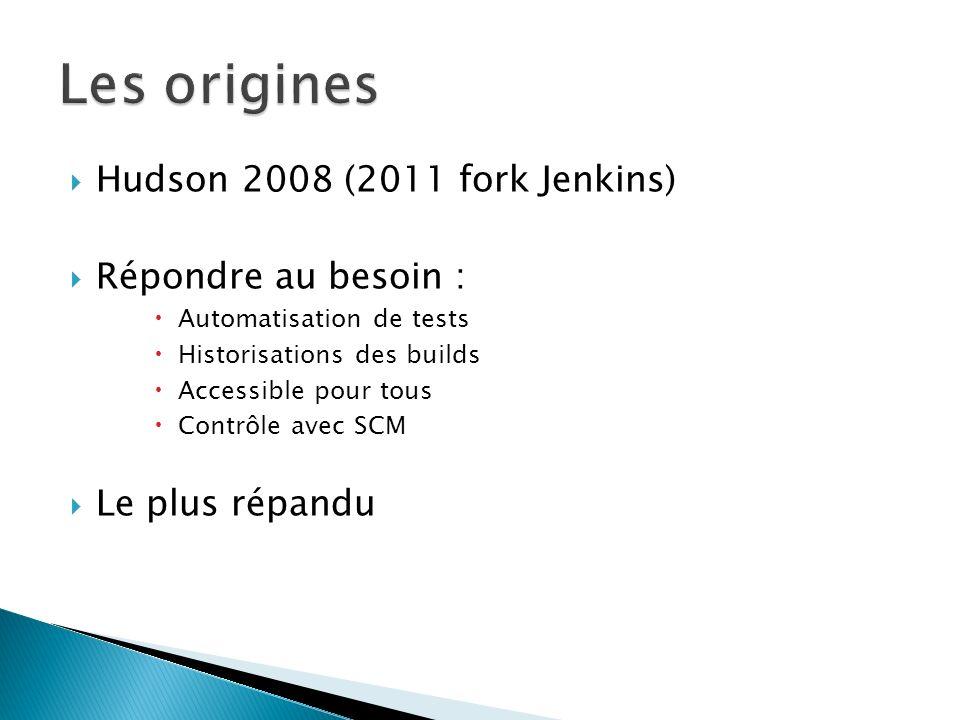 Les origines Hudson 2008 (2011 fork Jenkins) Répondre au besoin :