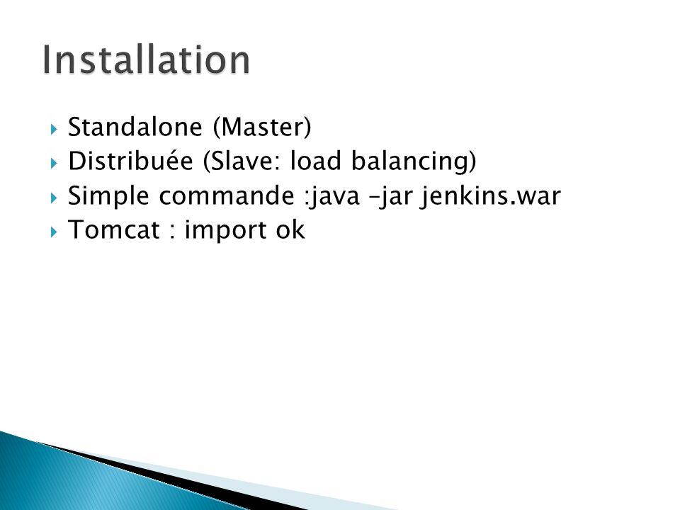 Installation Standalone (Master) Distribuée (Slave: load balancing)