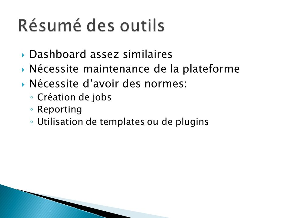 Résumé des outils Dashboard assez similaires