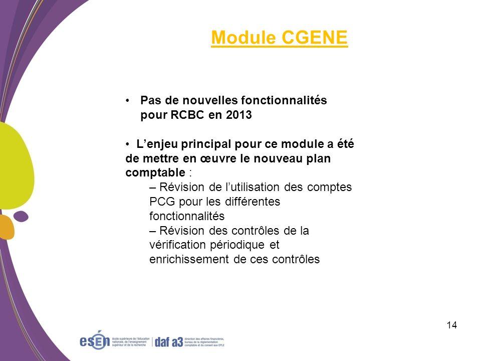 Module CGENE Pas de nouvelles fonctionnalités pour RCBC en 2013
