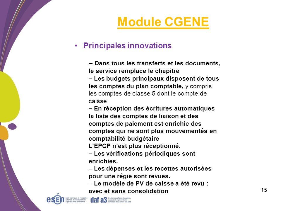 Module CGENE Principales innovations
