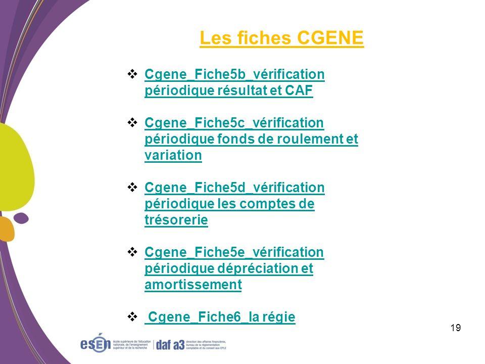 Les fiches CGENE Cgene_Fiche5b_vérification périodique résultat et CAF