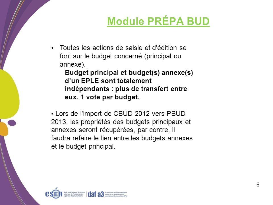 Module PRÉPA BUD Toutes les actions de saisie et d'édition se font sur le budget concerné (principal ou annexe).