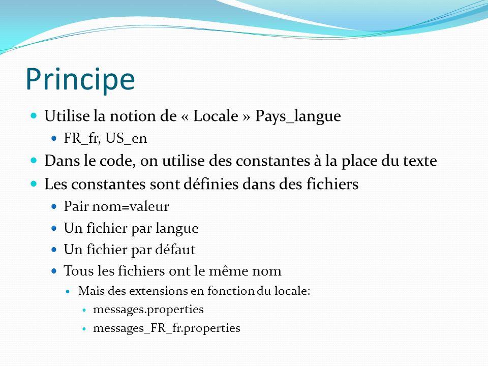 Principe Utilise la notion de « Locale » Pays_langue