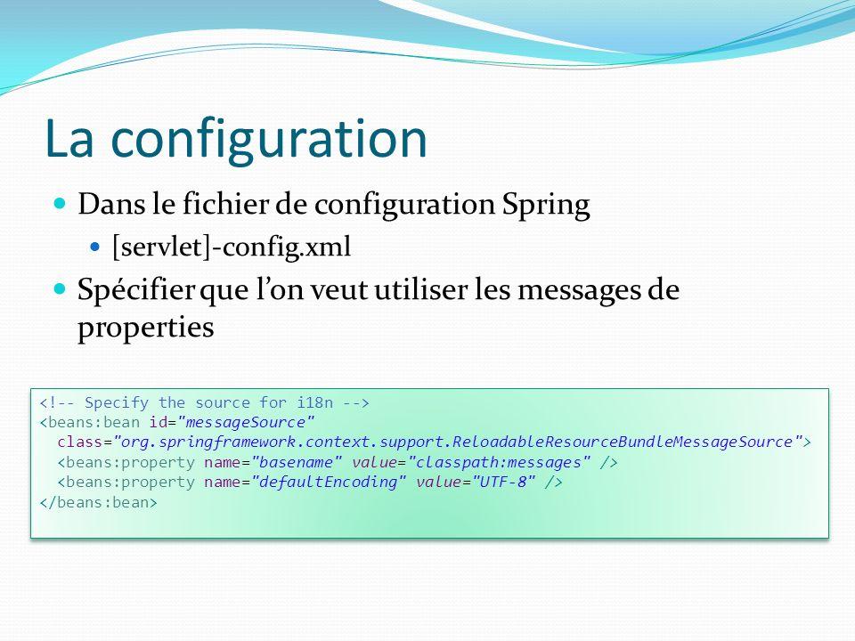 La configuration Dans le fichier de configuration Spring