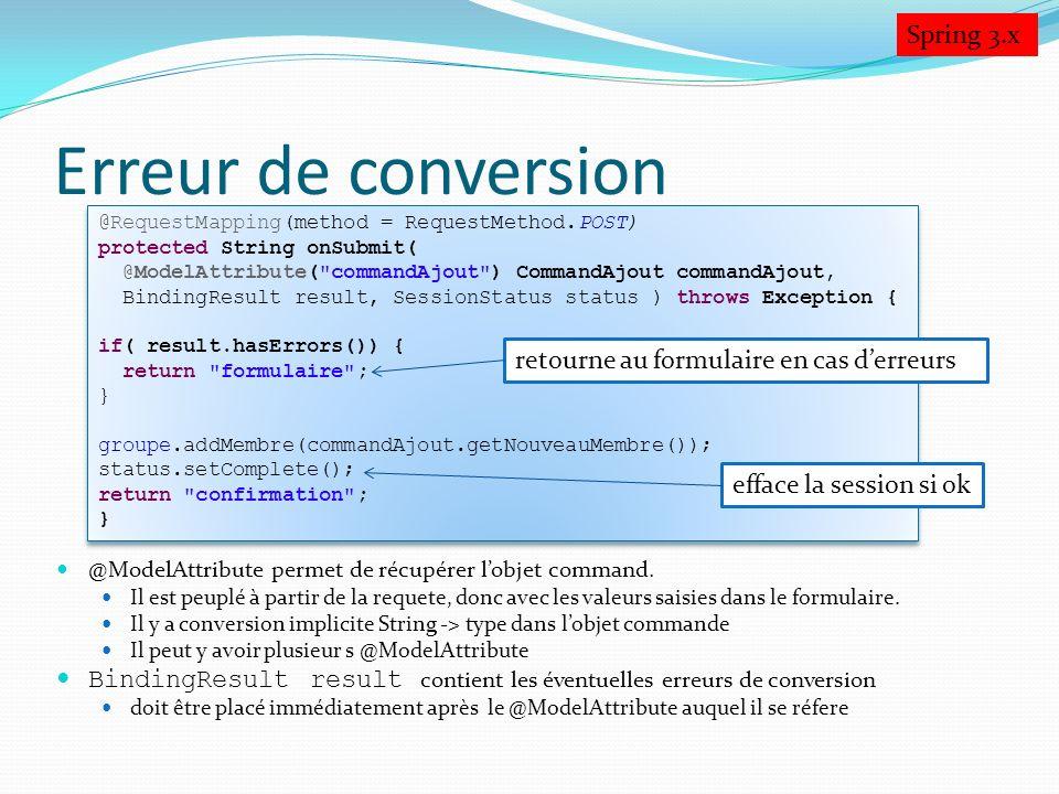 Erreur de conversion Spring 3.x