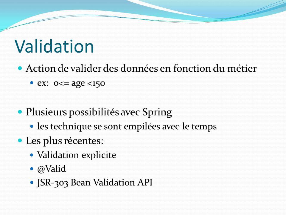 Validation Action de valider des données en fonction du métier