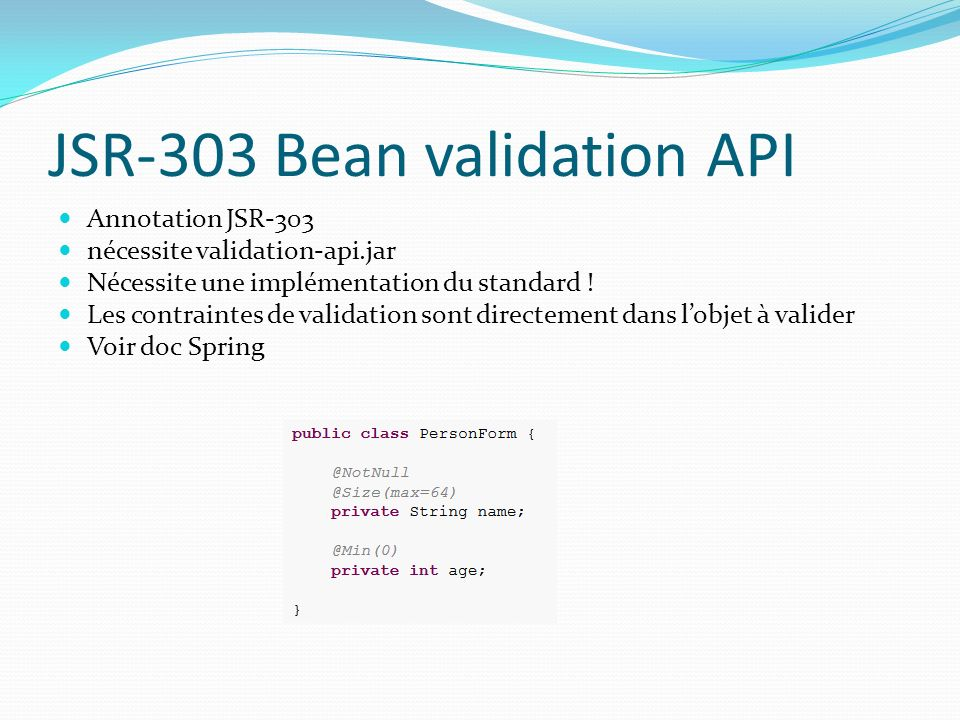JSR-303 Bean validation API