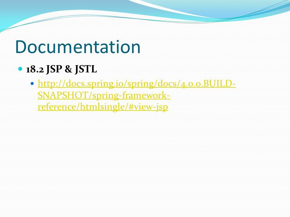 Documentation 18.2 JSP & JSTL