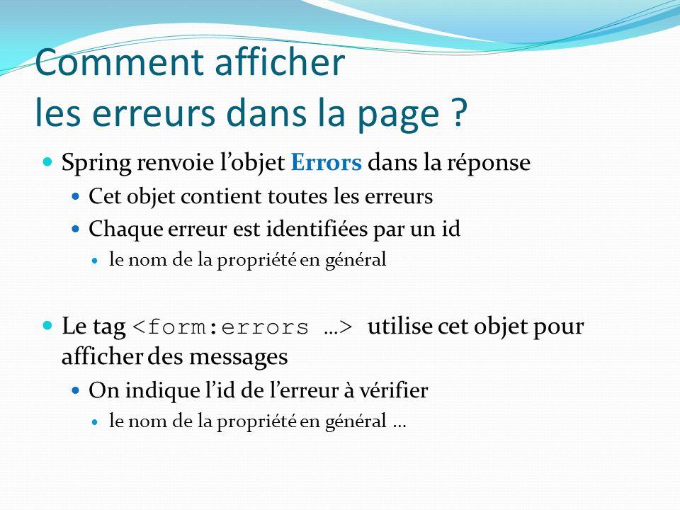Comment afficher les erreurs dans la page