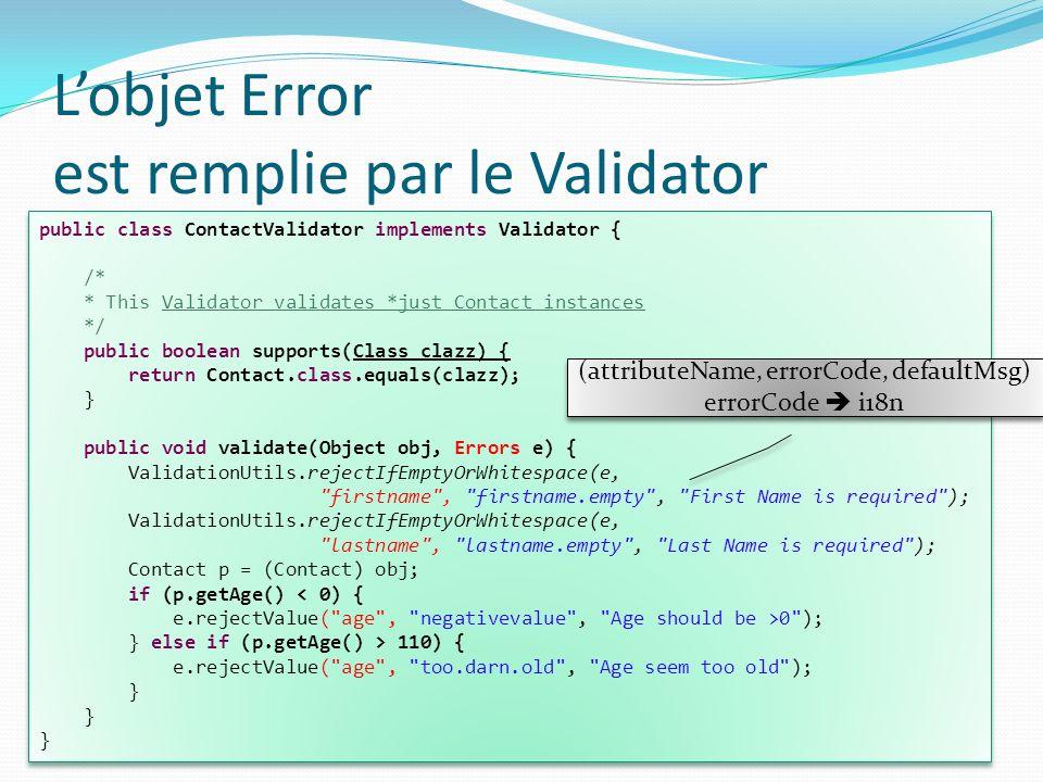L'objet Error est remplie par le Validator