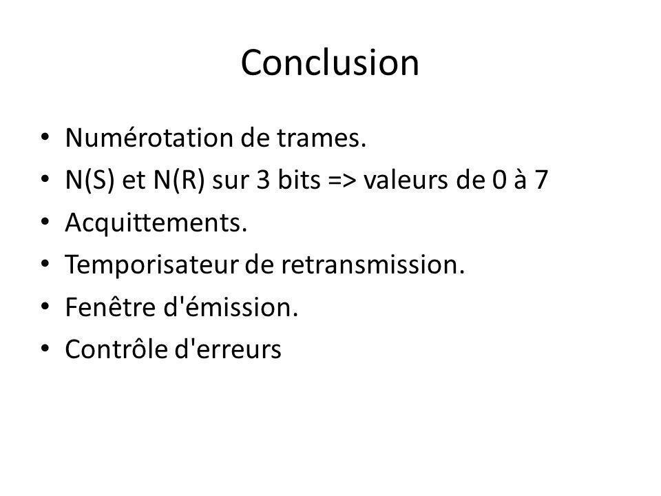 Conclusion Numérotation de trames.