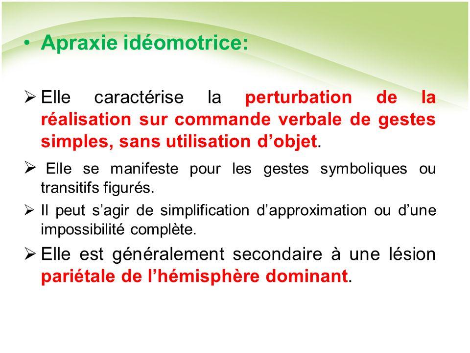 Apraxie idéomotrice: Elle caractérise la perturbation de la réalisation sur commande verbale de gestes simples, sans utilisation d'objet.