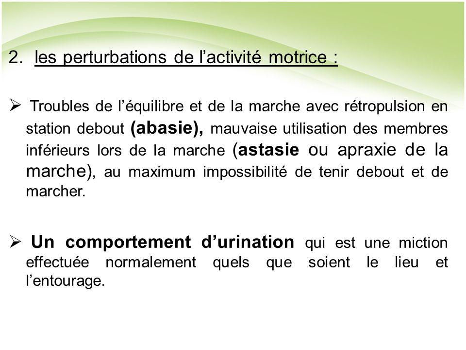 les perturbations de l'activité motrice :