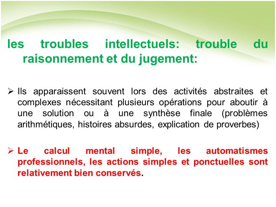 les troubles intellectuels: trouble du raisonnement et du jugement: