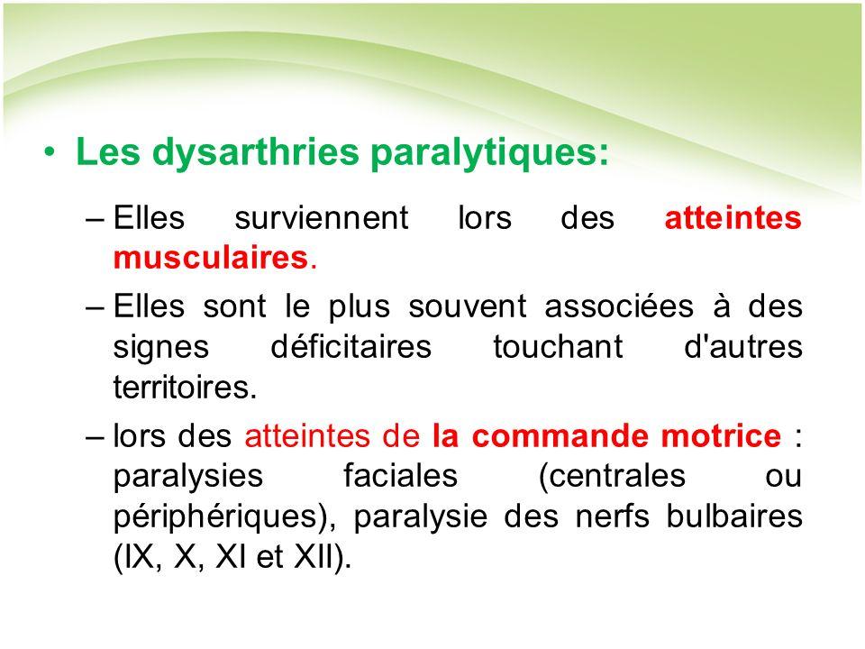 Les dysarthries paralytiques: