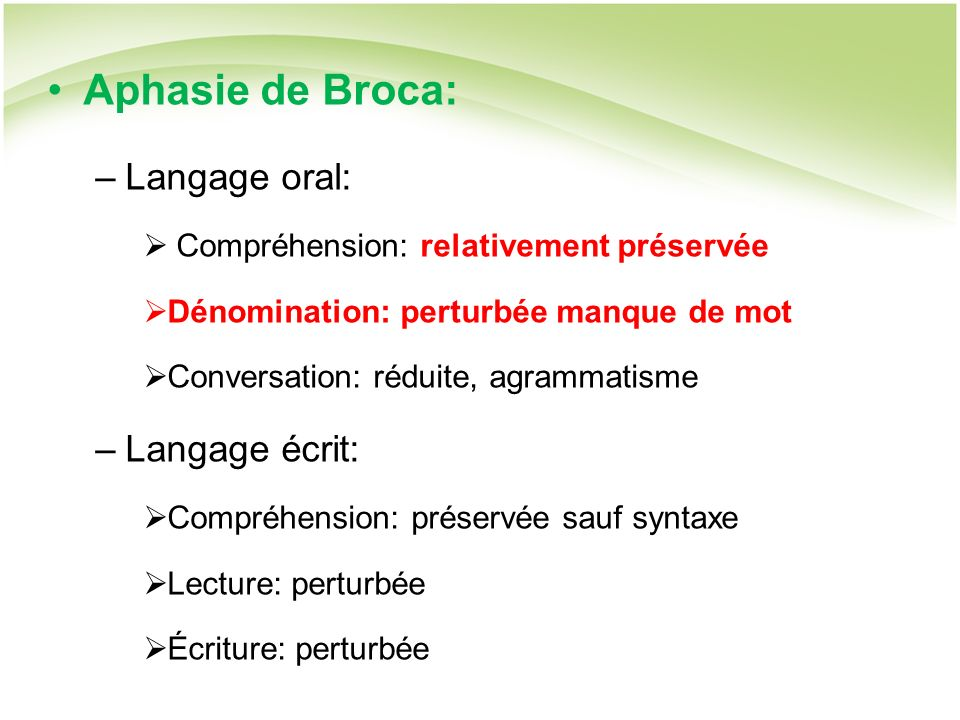 Aphasie de Broca: Langage oral: Langage écrit: