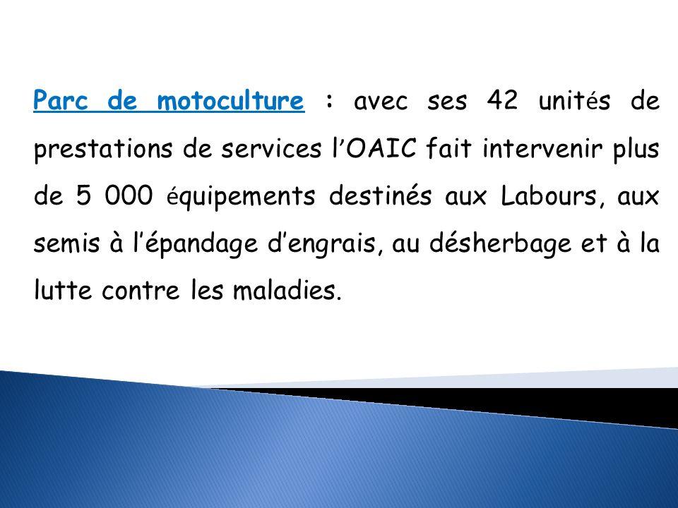 Parc de motoculture : avec ses 42 unités de prestations de services l'OAIC fait intervenir plus de 5 000 équipements destinés aux Labours, aux semis à l'épandage d'engrais, au désherbage et à la lutte contre les maladies.