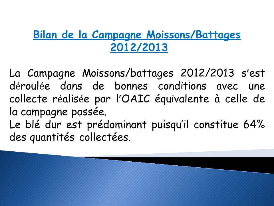 Bilan de la Campagne Moissons/Battages