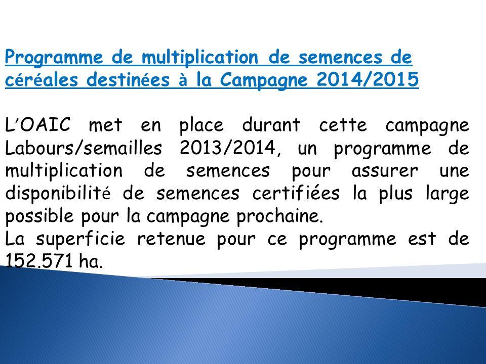 Programme de multiplication de semences de céréales destinées à la Campagne 2014/2015
