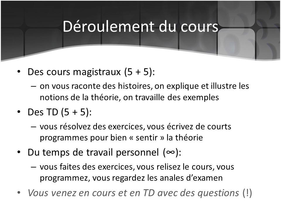 Déroulement du cours Des cours magistraux (5 + 5): Des TD (5 + 5):