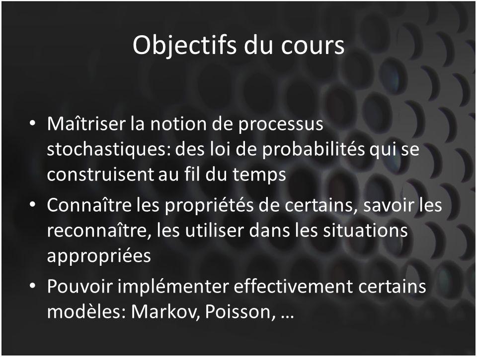 Objectifs du cours Maîtriser la notion de processus stochastiques: des loi de probabilités qui se construisent au fil du temps.