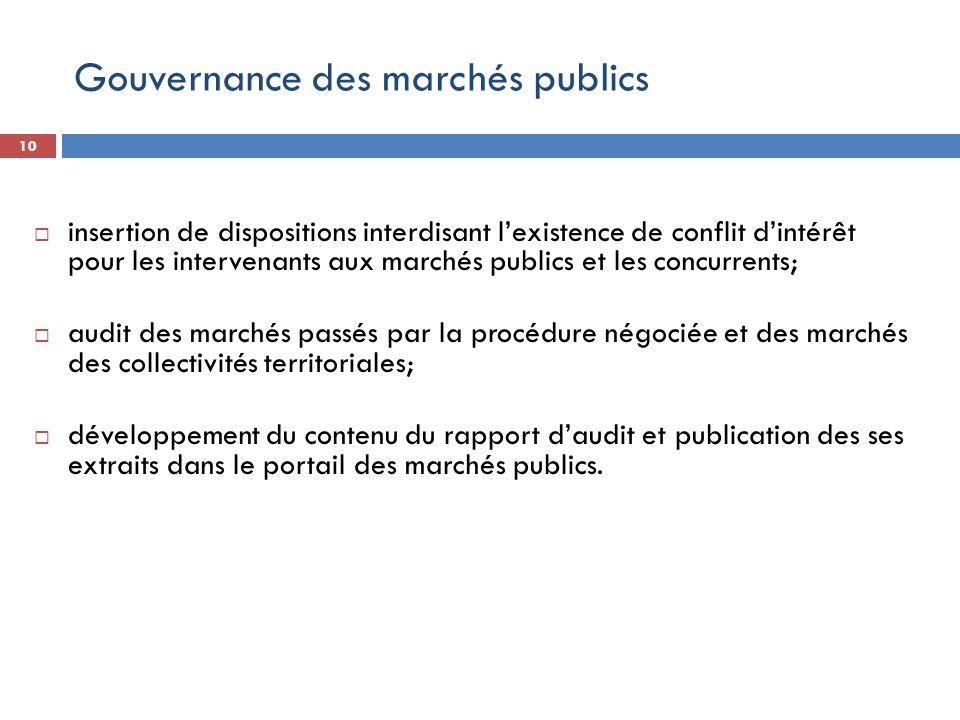 Gouvernance des marchés publics