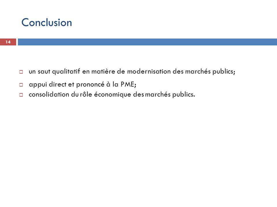 Conclusion un saut qualitatif en matière de modernisation des marchés publics; appui direct et prononcé à la PME;