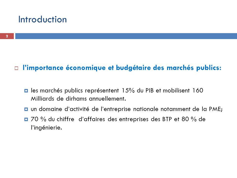 Introduction l'importance économique et budgétaire des marchés publics:
