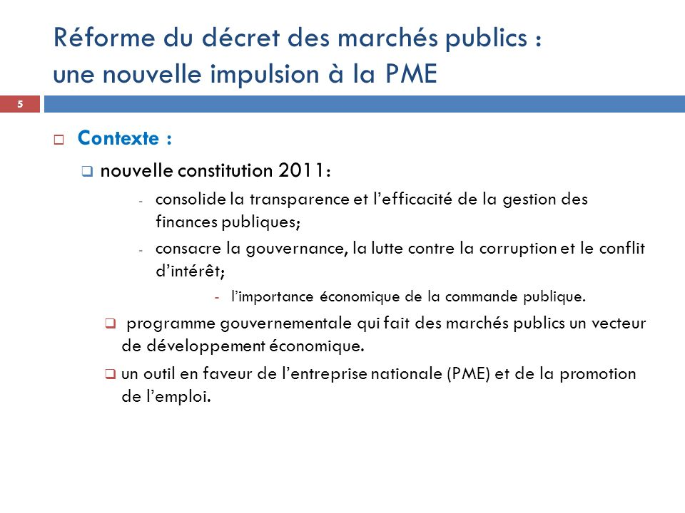 Réforme du décret des marchés publics : une nouvelle impulsion à la PME