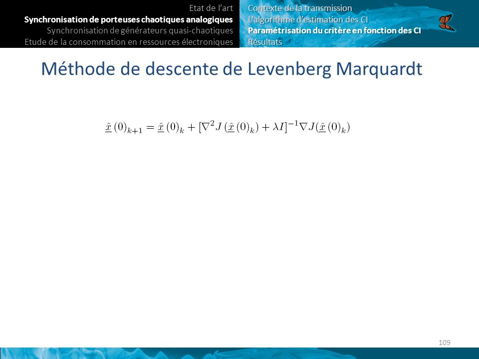 Méthode de descente de Levenberg Marquardt