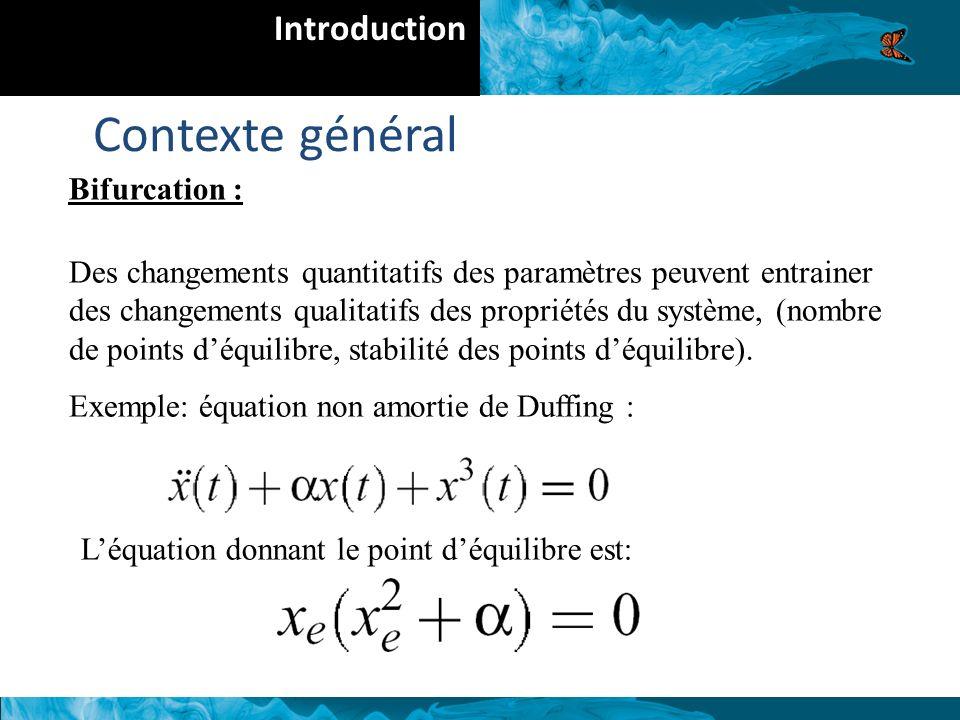 Contexte général Introduction Bifurcation :