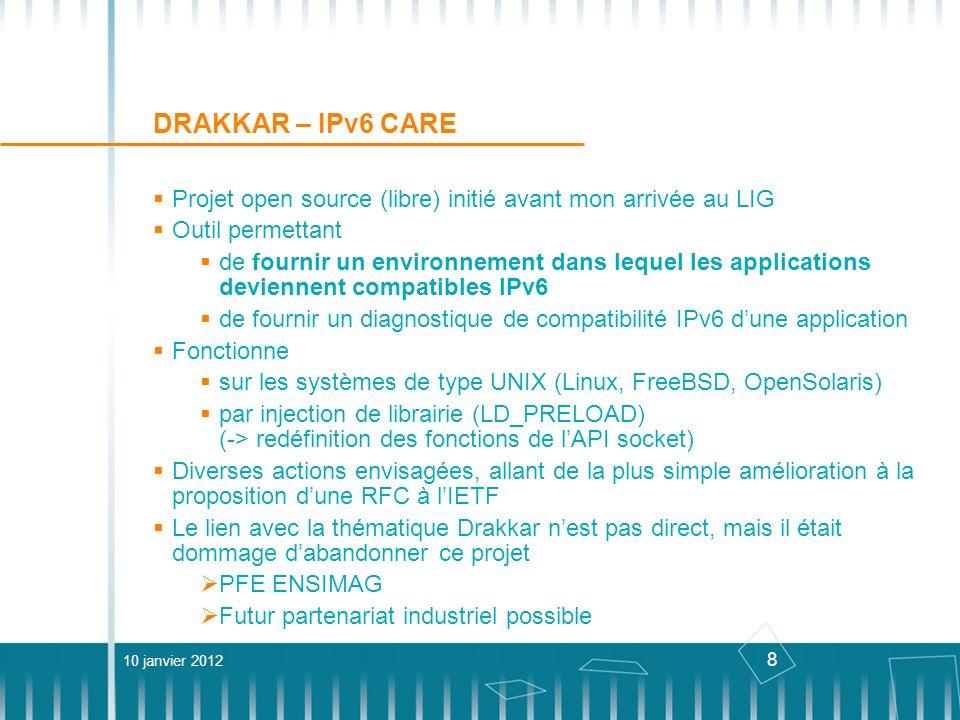 DRAKKAR – IPv6 CARE Projet open source (libre) initié avant mon arrivée au LIG. Outil permettant.