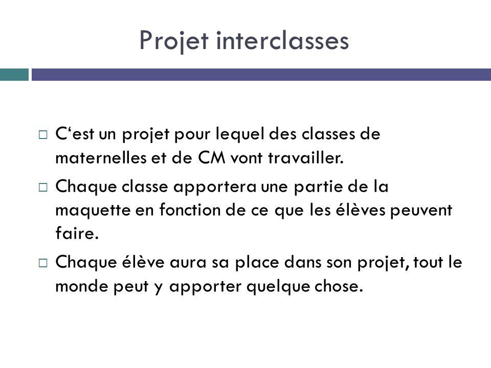 Projet interclasses C'est un projet pour lequel des classes de maternelles et de CM vont travailler.
