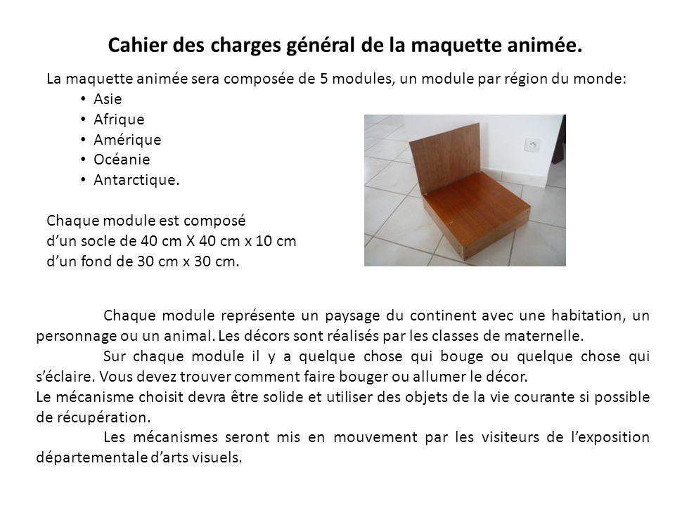 Cahier des charges général de la maquette animée.