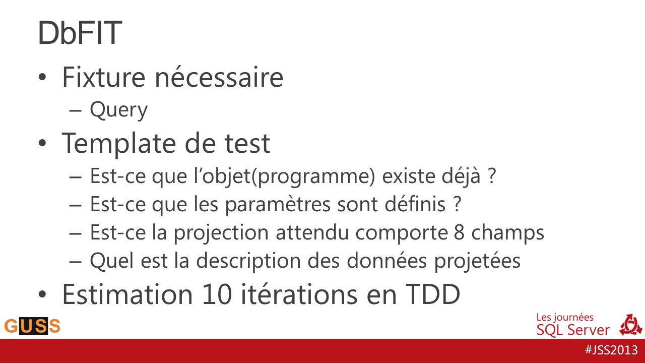 DbFIT Fixture nécessaire Template de test